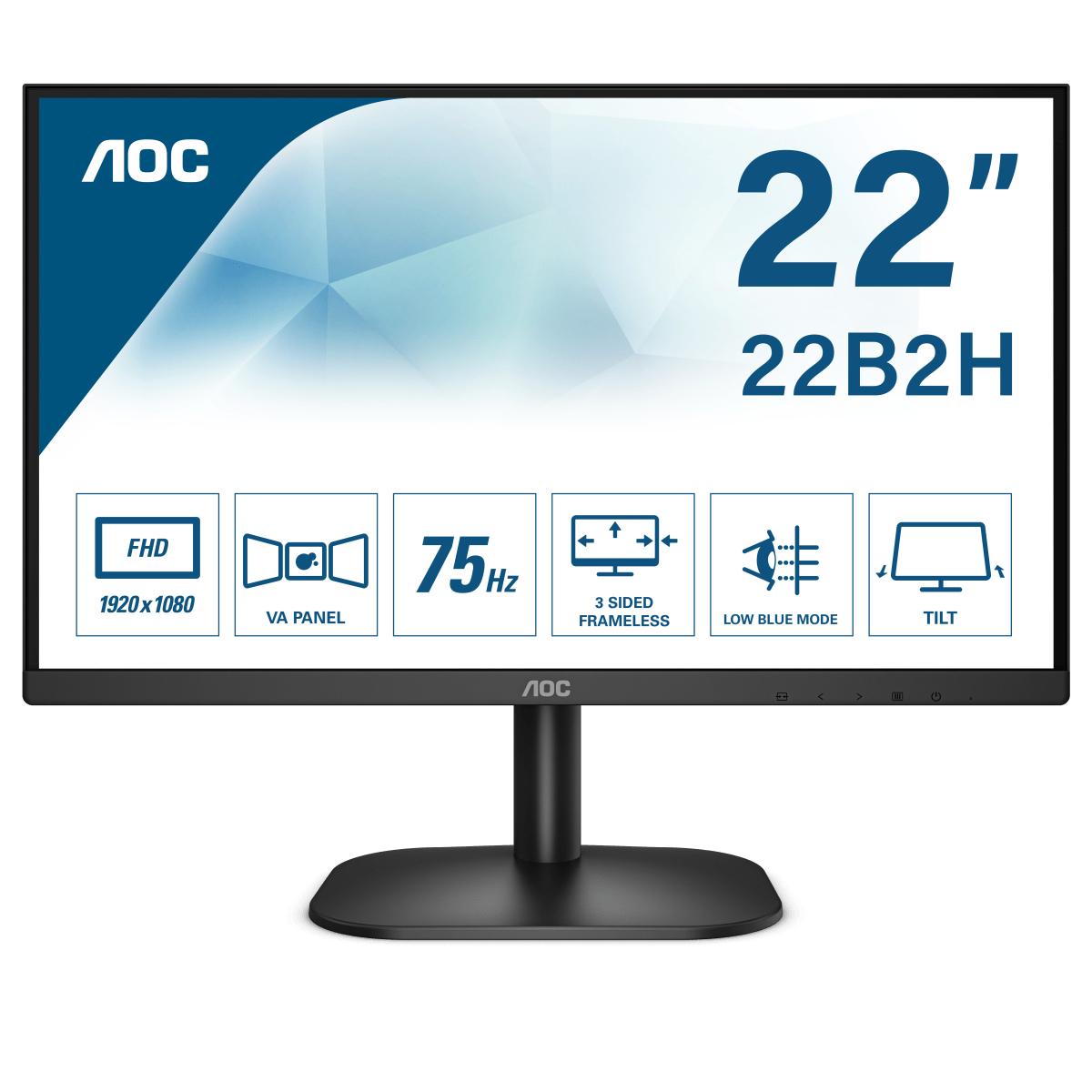 """AOC 22B2H pantalla para PC 54,6 cm (21.5"""") 1920 x 1080 Pixeles Full HD LED Negro"""