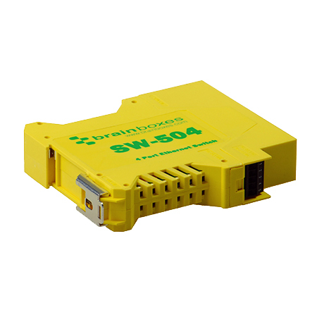 Brainboxes SW-504 Unmanaged network switch Fast Ethernet (10/100) Yellow network switch