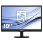 Philips LCD 19 Inch W-LED Monitor, Black, 1366 x 768 Resolution, VGA Connection with SmartControl Lite