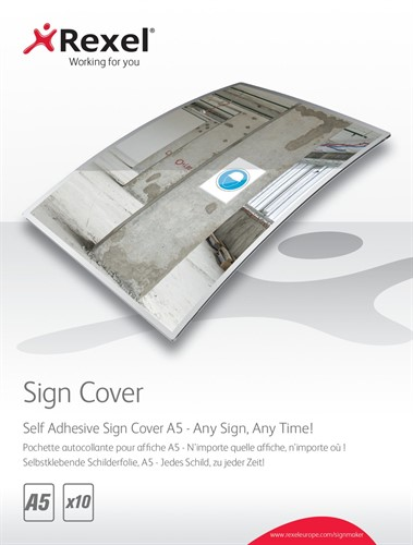 Rexel Self Adhesive Sign Covers A5 (10)