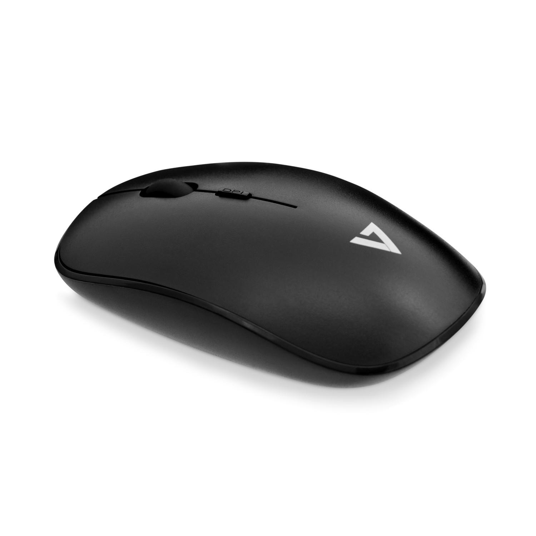V7 Perfil bajo Wireless Óptico Ratón - Negro