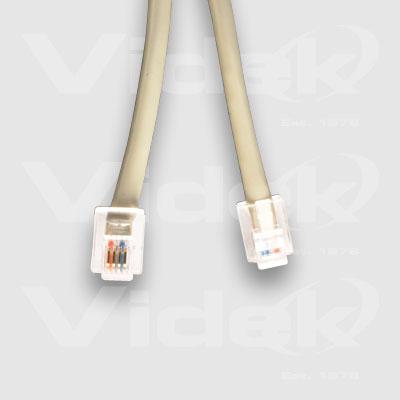 Videk 4 POLE RJ11 Male to Male ADSL Cable 0.5m