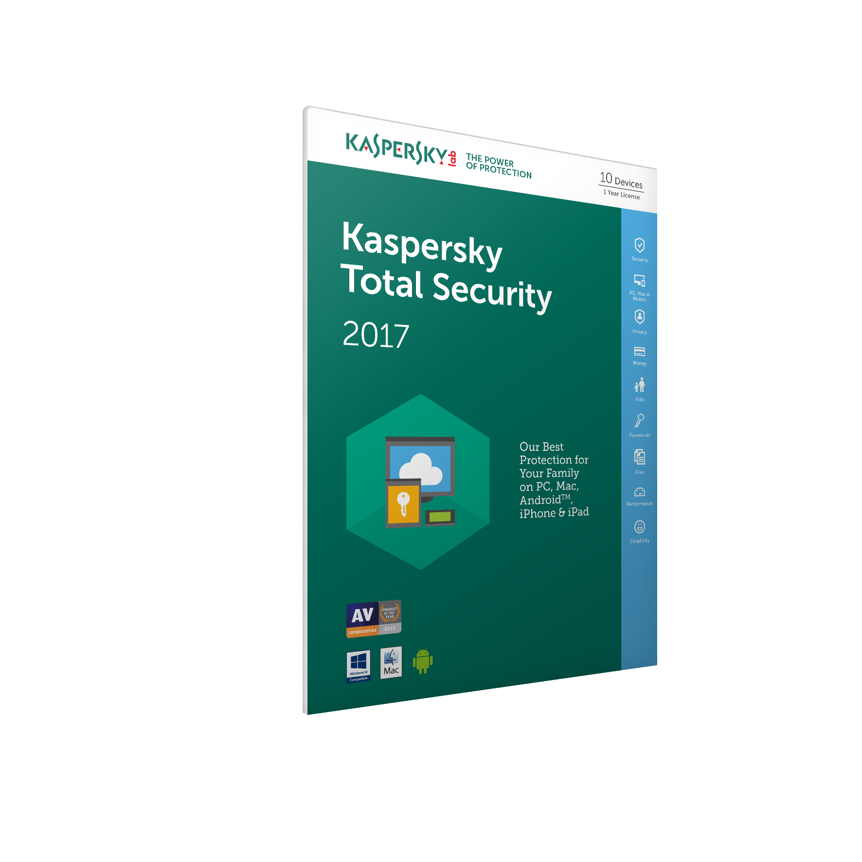 Kaspersky Lab Kaspersky Total Security 2017 - 10 Devices 1 Year (Frustration Free Packaging)