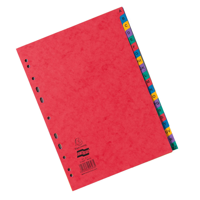 EUROPA A-Z Dividers A4 Assorted 4803Z (PK1)