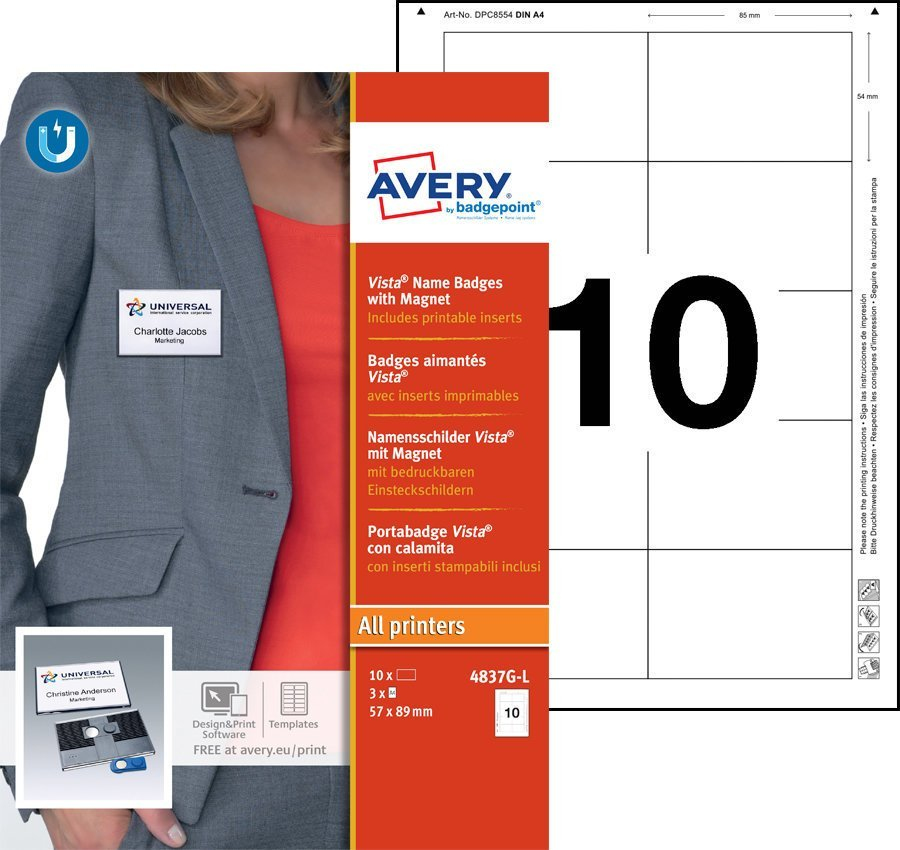 Avery Vista 60 Name Badge with Magnet Anthracite 10 Badges 30 Lbls
