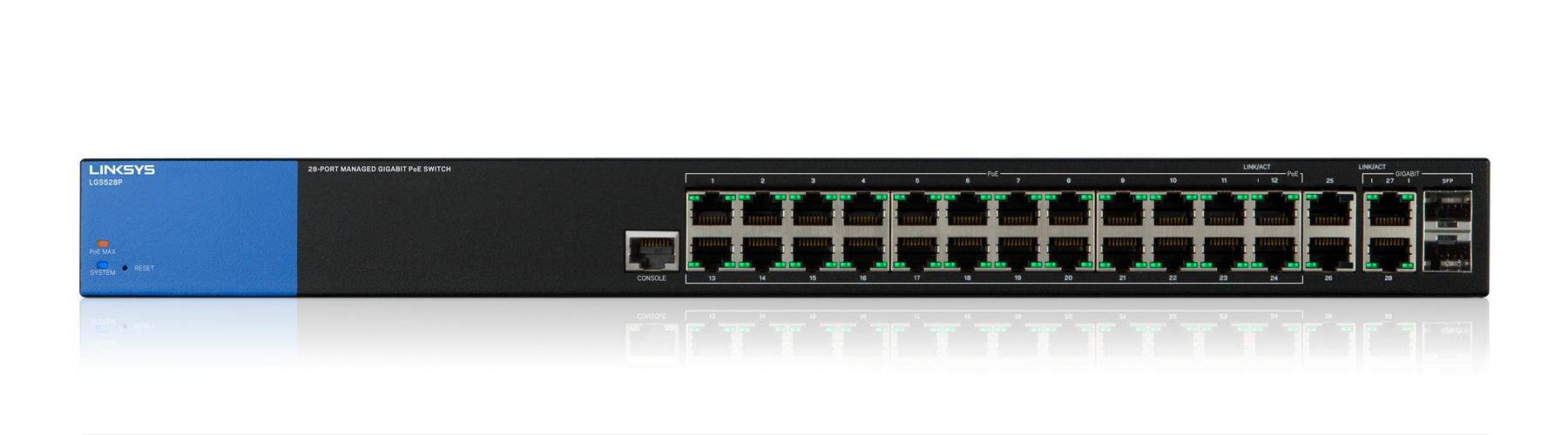 Linksys Switch Gigabit PoE+ administrado de 28 puertos (LGS528P)