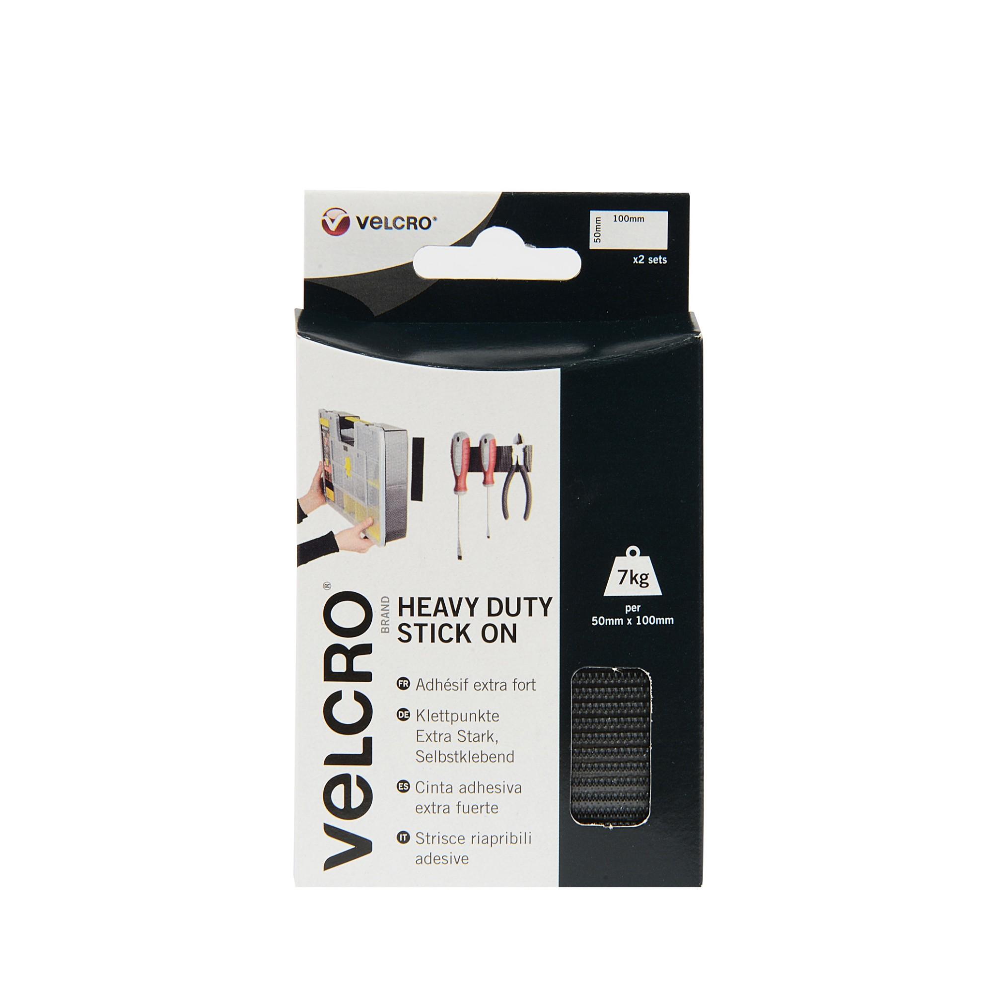 VELCRO Black Stick On Heavy Duty 50mmx100mm 2 Sets