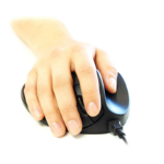 Hippus A Hippus product- the HandShoe LightClick is a black ergonomic mouse supporting hand position which
