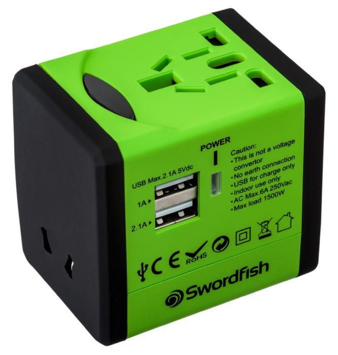 Swordfish 40255 power adapter/inverter Indoor Black, Green