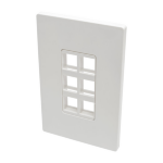Tripp Lite 6-Port Single-Gang Universal Keystone Wallplate, White