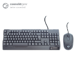 CONNEkT Gear KB235 USB Standard UK Layout Keyboard and 3 Button Optical Mouse - Black