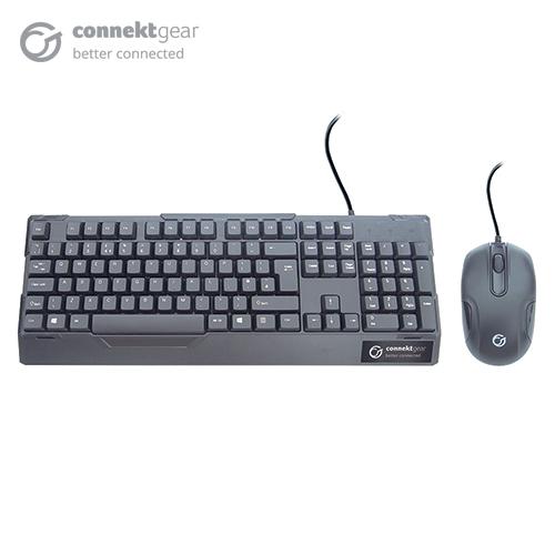 CONNEkT Gear KB235 USB Standard UK Layout Keyboard and 3 Button Optical Mouse - Black