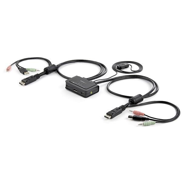 StarTech.com Conmutador Switch KVM 2 puertos DisplayPort DP USB Audio con Cables Integrados - 1080p