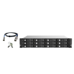 "QNAP TL-R1220SEP-RP 192TB (Seagate Exos) 12-bay 2U rackmount SAS 12Gbps JBOD expansion enclosure with SAS expander; 2.5:/3.5 SAS 12Gbps & SAS/SATA 6Gbps drives; 4 x SFF-8644 Mini-SAS HD ports; redundant PSU HDD/SSD enclosure Black, Grey 2.5/3.5"""