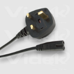 Videk Figure 8 F to UK Mains Plug 1.8m power cable Black