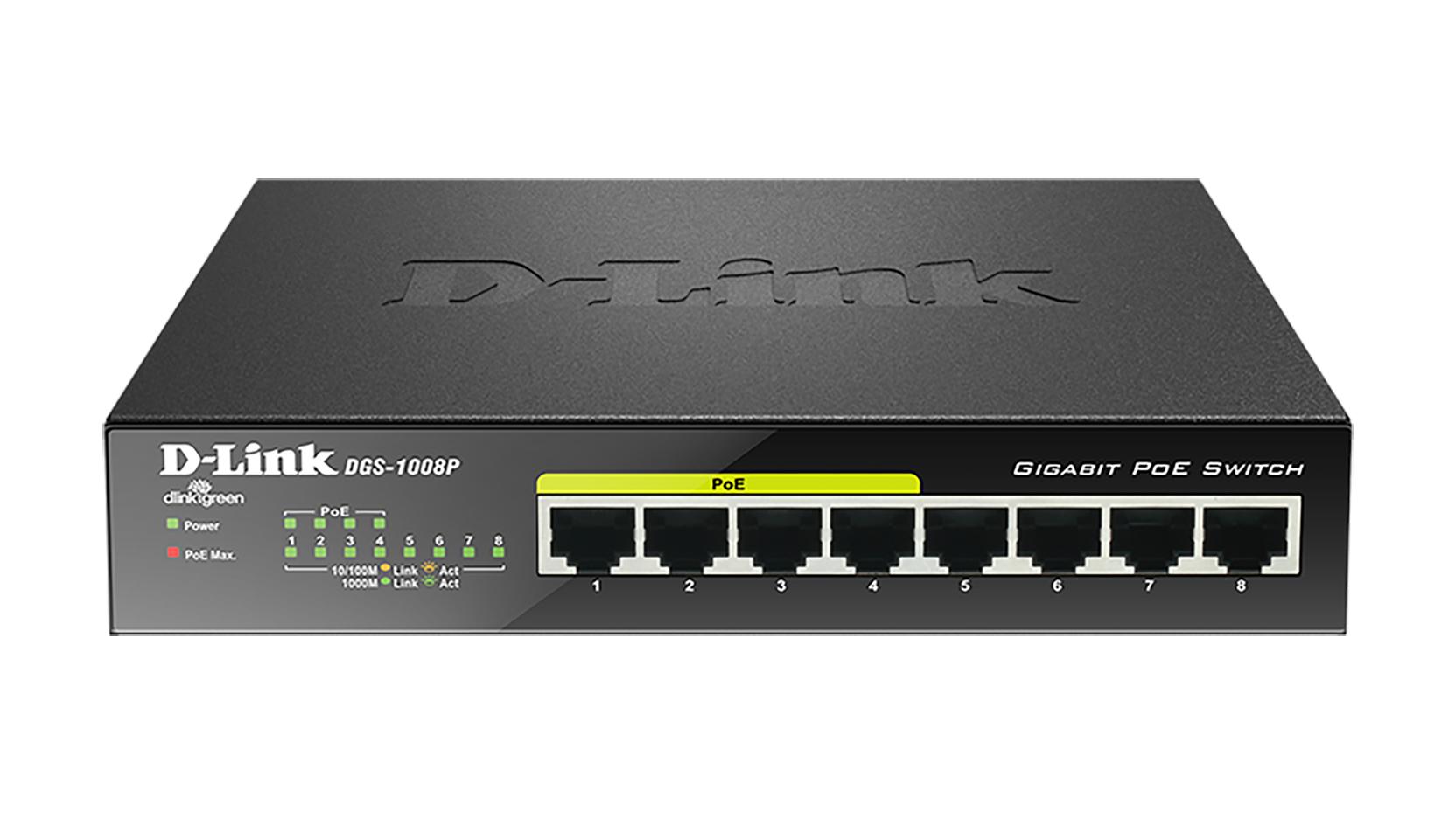 D-Link DGS-1008P switch No administrado Gigabit Ethernet (10/100/1000) Negro Energía sobre Ethernet (PoE)