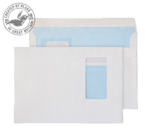 Blake Purely Everyday White Window Self Seal Wallet C5 162x229mm 100gsm (Pack 500)