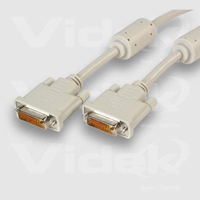 Videk DVI/I M to M Dual Link Digital/Analogue Monitor Cable 1m DVI cable DVI-I