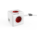 Allocacoc PowerCube Extended USB base múltiple 1,5 m 4 salidas AC Interior Rojo, Blanco