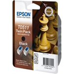 Epson C13T05114210 (T0511) Ink cartridge black, 2K pages, 24ml, Pack qty 2