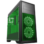 GameMax Game Max Titan Mid Tower PC Gaming Case Window 2 X Fans USB3 BLACK / GREEN LED