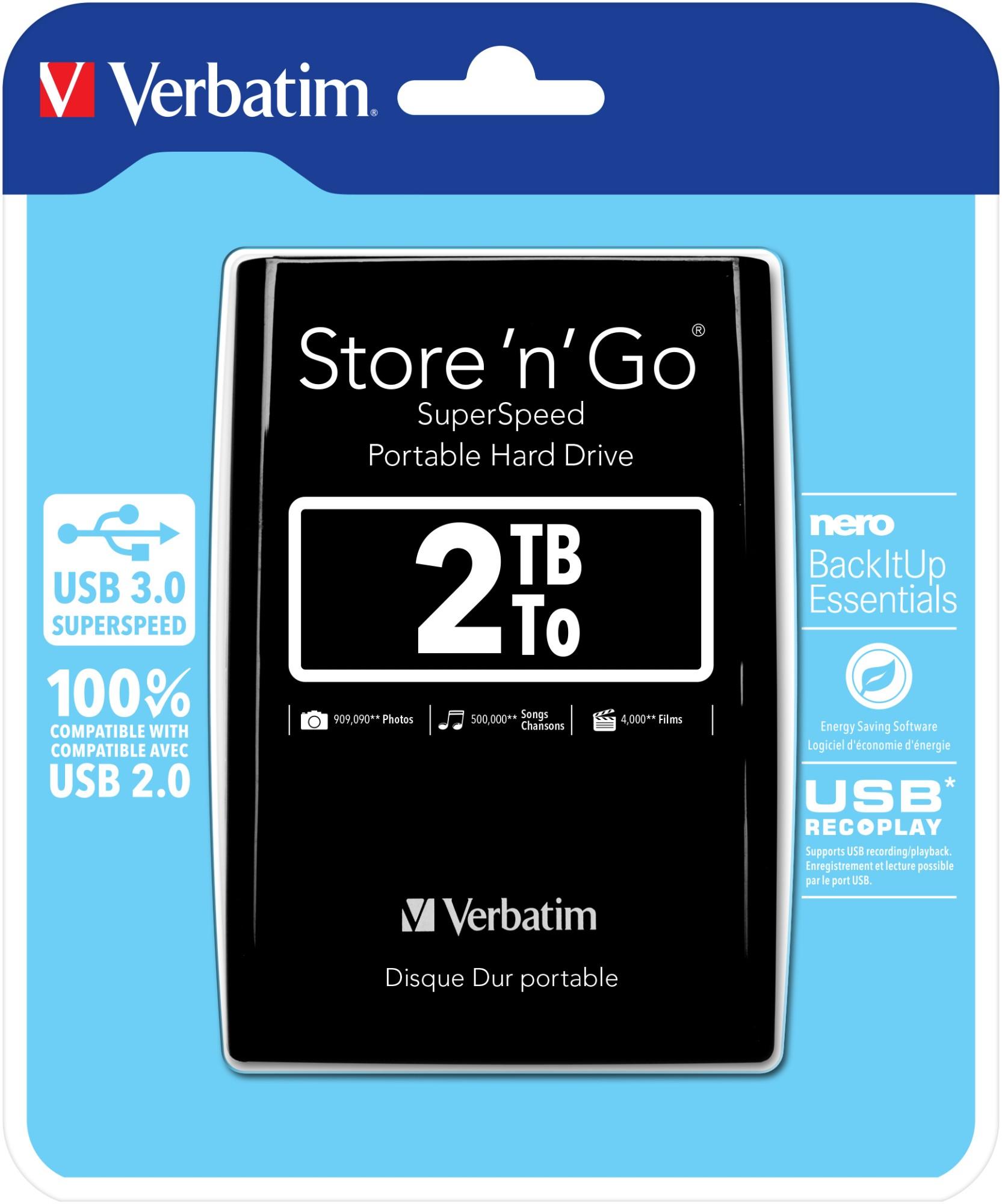 Verbatim Store 'n' Go external hard drive 2048 GB Black