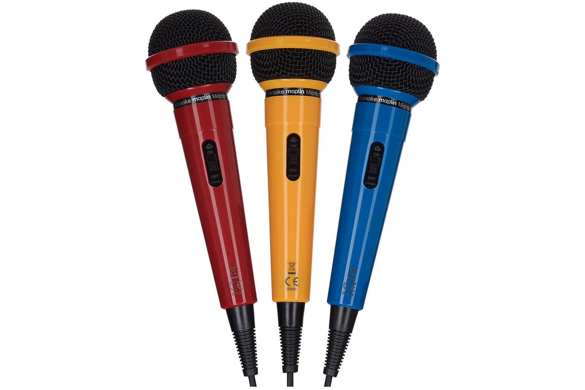Karaoke Dynamic Directional Microphones - Red, Yellow & Blue 3 Pack