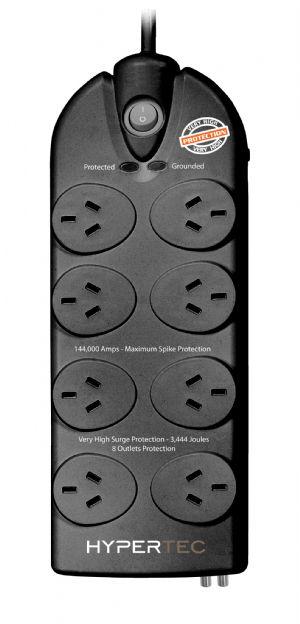 Cabac Hypertec 8 Socket Power Board ADSL & Phone Surge Protection