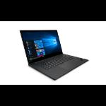 "Lenovo ThinkPad P1 Mobile workstation 39.6 cm (15.6"") 3840 x 2160 pixels Touchscreen Intel® Xeon® 16 GB DDR4-SDRAM 512 GB SSD NVIDIA Quadro T2000 Wi-Fi 6 (802.11ax) Windows 10 Pro for Workstations Black"