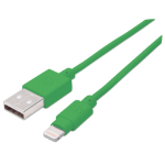 Manhattan USB-A to Lightning Cable, 15cm, Male to Male, MFi Certified (Apple approval program), 480 Mbps (USB 2.0), Hi-Speed USB, Green, Lifetime Warranty, Blister