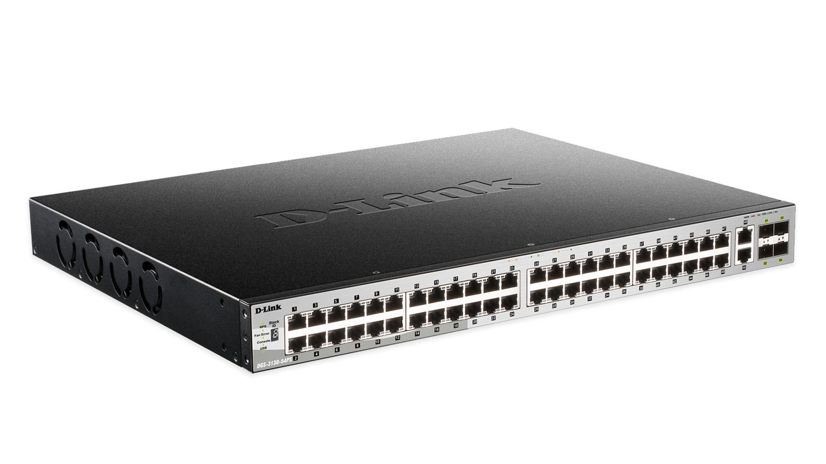 D-Link DGS-3130-54PS Gestionado L3 Gigabit Ethernet (10/100/1000) Negro, Gris Energía sobre Ethernet (PoE)