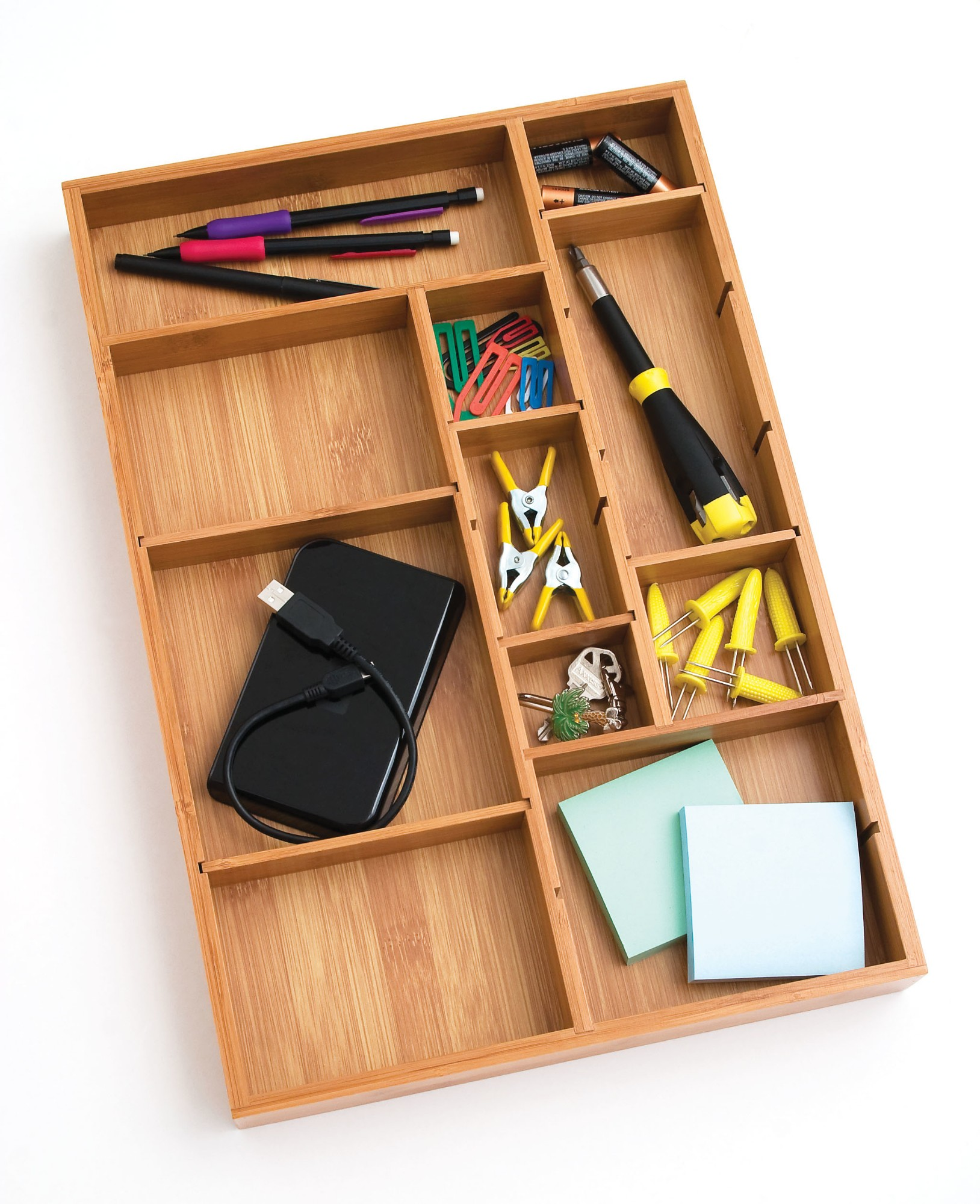 lipper bamboo brown desk drawer organizer