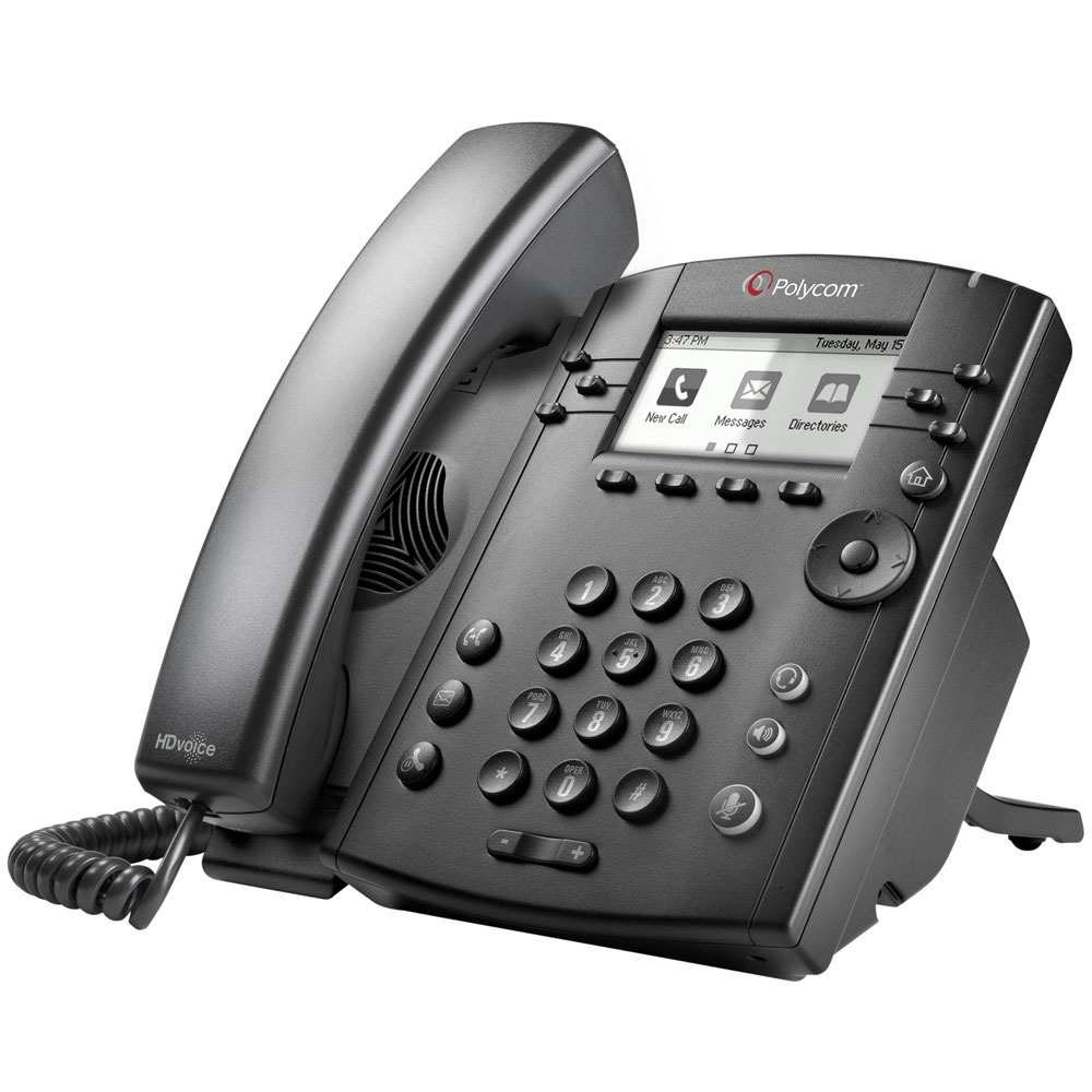 Polycom VVX 301 Skype for Business IP phone Black Wired handset LCD 6 lines