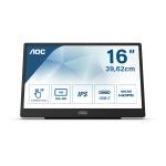 "AOC 16T2 touch screen-monitor 39,6 cm (15.6"") 1920 x 1080 Pixels Multi-touch Zwart"