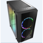 Casecom Gamming XM-91 Front & Side Transparent Temper glass  Micro ATX with no PSU-has 2x 12CM 18 LED fans