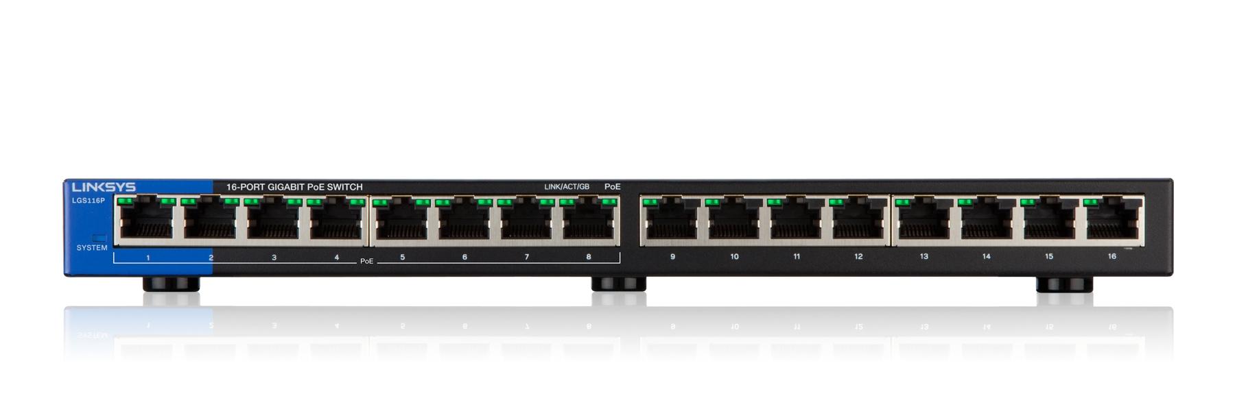 Linksys Conmutador PoE Gigabit de escritorio con 16 puertos (LGS116P)