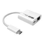Tripp Lite USB 3.1 Gen 1 USB-C to Gigabit Ethernet NIC Network Adapter with USB-C Charging Port, 10/100/1000 Mbps, White