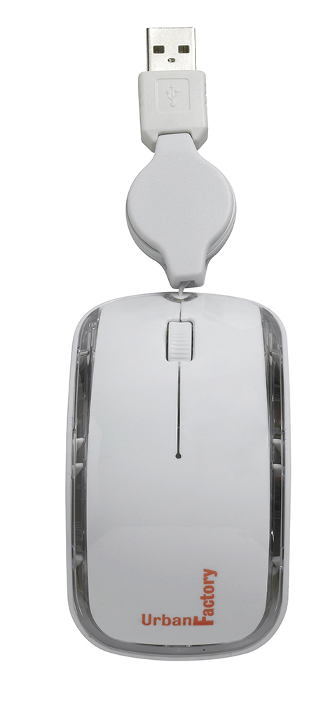 Urban Factory Mouse Small Jerry's, Retractable USB cable, 800dpi, White