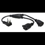 """QVS PPRT-ADPT2 power cable Black 15.7"""" (0.4 m)"""