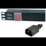 Dynamode PDU-6WS-H-UK-IEC-3M power distribution unit (PDU) 6 AC outlet(s) 1U Black