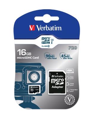 Verbatim 16GB Pro U3 microSDHC 16GB MicroSDHC UHS Class 10 memory card