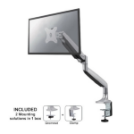 "Newstar Full Motion Desk Mount (clamp & grommet) for 10-32"" Monitor Screen, Height Adjustable (gas spring) - Silver"
