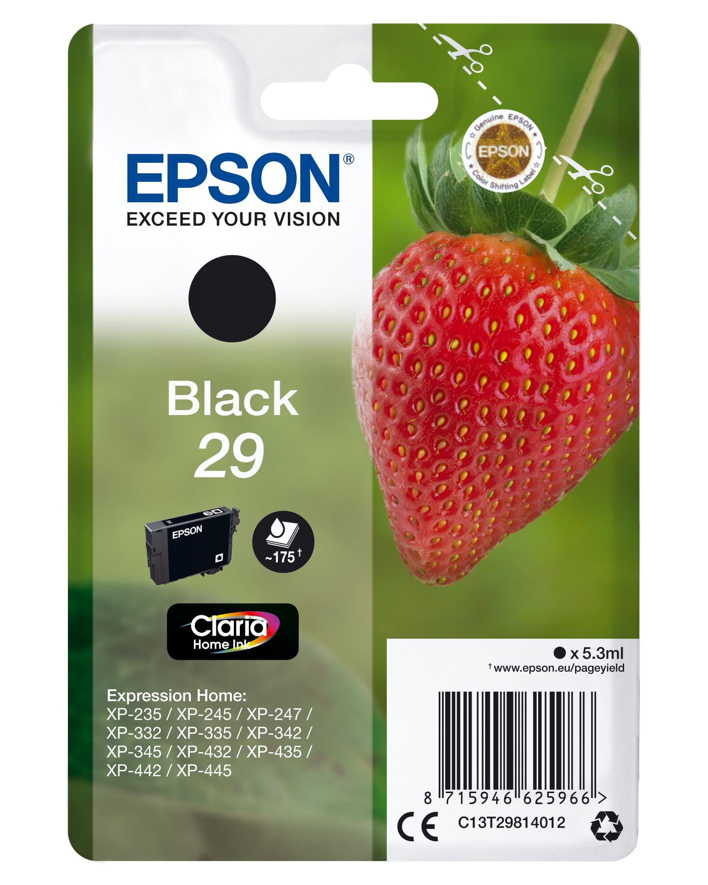 Epson Strawberry Singlepack Black 29 Claria Home Ink