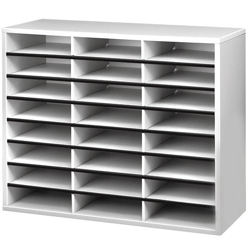 Fellowes 25041 literature rack 24 shelves Grey, White