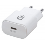 Manhattan Wall/Power Charger (Euro 2-pin), USB-C Port, up to 18W / 3A, White, Three Year Warranty, Box