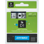DYMO D1 Label Cassette, 9mm x 7m - Black on Clear