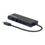 Manhattan USB-A Dock/Hub - Ports (x5): Ethernet, HDMI, USB-A (x2) and VGA, Micro-USB Power Input Port (Optional, only when additional power needed. Not required for dual monitor functionality. Cable not included), Aluminium, Black, Three Year Warranty, Re