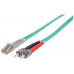 Intellinet Fibre Optic Patch Cable, Duplex, Multimode, ST/LC, 50/125 µm, OM3, 10m, LSZH, Aqua
