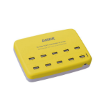 Laser PW-USB101-YEL Indoor White10 Port USB Charging Station 10x1A / 5x2.4A Yellow mobile device charger
