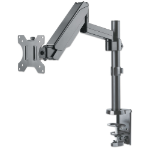 "Manhattan TV & Monitor Mount, Desk, Full Motion (Gas Spring), 1 screen, Screen Sizes: 10-27"", Black, Clamp or Grommet Assembly,VESA 75x75 to 100x100mm, Max 8kg, Lifetime Warranty"